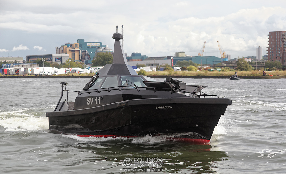 London, United Kingdom - 18 September 2015<br /> Safehaven Marine demonstrate their SV11 Barracuda stealth boat with front mounted retractable gun and radar avoidance technology at Operation MARICAP waterborne demonstration at the defence and security exhibition DSEI at ExCeL, Woolwich, London, England, UK.<br /> (photo by: EQUINOXFEATURES.COM)<br /> <br /> Picture Data:<br /> Photographer: Equinox Features<br /> Copyright: ©2015 Equinox Licensing Ltd. +448700 780000<br /> Contact: Equinox Features<br /> Date Taken: 20150918<br /> Time Taken: 14344558<br /> www.newspics.com