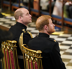 Prince Harry (right) sits with his best man the Duke of Cambridge in St George's Chapel at Windsor Castle ahead of his wedding to Meghan markle wedding.