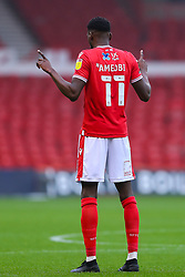 Sammy Ameobi of Nottingham Forest points his fingers towards the sky ahead of kick off - Mandatory by-line: Nick Browning/JMP - 29/11/2020 - FOOTBALL - The City Ground - Nottingham, England - Nottingham Forest v Swansea City - Sky Bet Championship