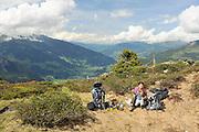 Zillertal, Tyrol, Austria hiker on the scenic trail