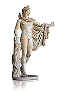 2nd century AD Roman statue of Apollo known as the Belvederre Apollo. The Apollo statue originally had a bow in its left hand and Apollo is depiceted having just fired an arrow.  Probably a Roman copy of a Hellenistic statue from around 330-320 BC by Leochares. Inv 1015, Vatican Museum Rome, Italy,  white background ..<br /> <br /> If you prefer to buy from our ALAMY STOCK LIBRARY page at https://www.alamy.com/portfolio/paul-williams-funkystock/greco-roman-sculptures.html . Type -    Vatican    - into LOWER SEARCH WITHIN GALLERY box - Refine search by adding a subject, place, background colour, museum etc.<br /> <br /> Visit our CLASSICAL WORLD HISTORIC SITES PHOTO COLLECTIONS for more photos to download or buy as wall art prints https://funkystock.photoshelter.com/gallery-collection/The-Romans-Art-Artefacts-Antiquities-Historic-Sites-Pictures-Images/C0000r2uLJJo9_s0c