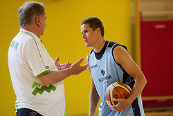 Bozidar Maljkovic, head coach and Jaka Lakovic during training camp of Slovenian National basketball team for Eurobasket 2013 on July 19, 2013 in Sports hall Rogatec, Slovenia. (Photo by Vid Ponikvar / Sportida.com)