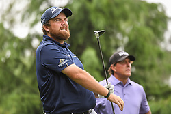 May 5, 2018 - Charlotte, NC, U.S. - CHARLOTTE, NC - MAY 05: Shane Lowry tees off during the 3rd round of the Wells Fargo Championship on May 05, 2018 at Quail Hollow Club in Charlotte, NC. (Photo by William Howard/Icon Sportswire) (Credit Image: © William Howard/Icon SMI via ZUMA Press)