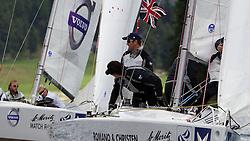 Ben Ainslie, TEAMORIGIN (foreground) vs Bjorn Hansen, Hansen Global Team. St Moritz Match Race 2010. World Match Racing Tour. St Moritz, Switzerland. 4th September 2010. Photo: Ian Roman/WMRT.