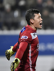 February 17, 2018 - Leuven, BELGIUM - OHL's Thai goalkeeper Kawin Thamsatchanan reacts during a soccer game between OH Leuven and KFCO Beerschot Wilrijk, in Heverlee, Leuven, Saturday 17 February 2018, on day 27 of the division 1B Proximus League competition of the Belgian soccer championship. BELGA PHOTO BRUNO FAHY (Credit Image: © Bruno Fahy/Belga via ZUMA Press)