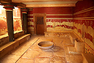 Arthur Evans reconstruction of the the so-called Throne Room or Little Throne Room, Knossos Minoan archaeological site ..<br /> <br /> Visit our GREEK HISTORIC PLACES PHOTO COLLECTIONS for more photos to download or buy as wall art prints https://funkystock.photoshelter.com/gallery-collection/Pictures-Images-of-Greece-Photos-of-Greek-Historic-Landmark-Sites/C0000w6e8OkknEb8 <br /> .<br /> Visit our MINOAN ART PHOTO COLLECTIONS for more photos to download  as wall art prints https://funkystock.photoshelter.com/gallery-collection/Ancient-Minoans-Art-Artefacts-Antiquities-Historic-Places-Pictures-Images-of/C0000ricT2SU_M9w