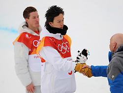 February 14, 2018 - PyeongChang, South Korea - Silver medal winner AYUMU HIRANO of Japan during the venue podium ceremony in Snowboard Men's Halfpipe Final at Phoenix Snow Park during the 2018 Pyeongchang Winter Olympic Games. (Credit Image: © Scott Mc Kiernan via ZUMA Wire)