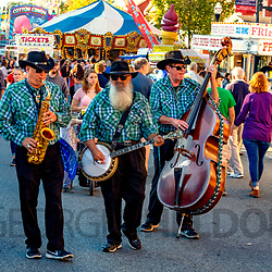 Ephrata, PA, USA - September 28, 2018: A roving band of street musicians entertained visitors at the annual street fair in downtown Ephrata.
