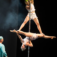 Participants compete in the Pole Theatre Hungary competition held in Budapest, Hungary on June 15, 2019. ATTILA VOLGYI