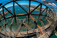 Overview from the top of the Sydney Harbour Bridge, Sydney, New South Wales, Australia