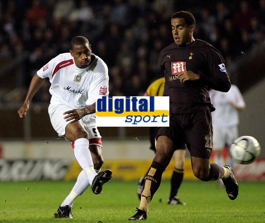 Photo: Marc Atkins.<br /> Milton Keynes Dons v Tottenham Hotspur. Carling Cup. 25/10/2006. Clive Platt of MK Dons shoots on goal.
