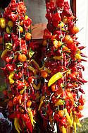 strings of chilis being dried at Hungary's paprika capital - Kalacsa, Hungary.
