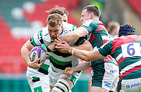 Rugby Union - 2020 / 2021 ER Challenge Cup - Quarter-Final - Leicester Tigers  vs Newcastle Falcons - Welford Road<br /> <br /> Callum Chick of Newcastle Falcons is tackled by Matt Scott of Leicester Tigers and George Martin of Leicester Tigers<br /> <br /> Credit : COLORSPORT/BRUCE WHITE
