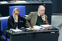 13 FEB 2020, BERLIN/GERMANY:<br /> Alice Weigel (L), MdB, AfD Fraktionsvorsitzende, und Alexander Gauland (R), MdB, AfD Fraktionsvorsitzender, Sitzung des Deutsche Bundestages, Plenum, Reichstagsgebaeude<br /> IMAGE: 20200213-01-023