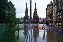 Edinburgh, Scotland, UK. 5 January 2020. Views of a virtually deserted Edinburgh City Centre as Scotland wakes up to the first day of a new strict national lockdown announced by Scottish Government to contain new upsurge in Covid-19 infections.  Iain Masterton/Alamy Live News