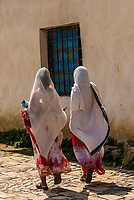 Women wearing netela (scarf-like cloth), Axum (Aksum), Ethiopia.