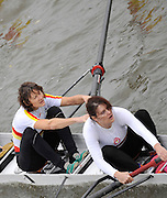 London, GREAT BRITAIN, left Kate GROSE and Pauline BIRD from TSS pass under Chiswick Bridge, during the Fullers Fours Head of the River Race, Raced over the reverse Championship Course, Mortlake to Putney. Saturday  {date}. [Mandatory Credit. Peter Spurrier/Intersport Images] Rowing Course: River Thames, Championship course, Putney to Mortlake 4.25 Miles,