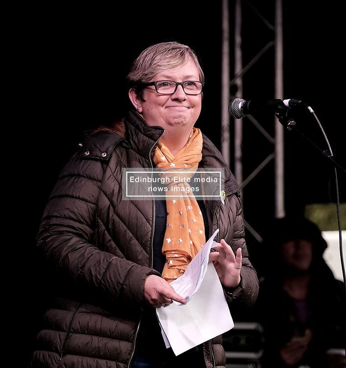 All Under One Banner March, Edinburgh, 5 October 2019<br /> <br /> Pictured: Joanna Cherry QC MP addresses the crowd in the Meadows<br /> <br /> Alex Todd | Edinburgh Elite media