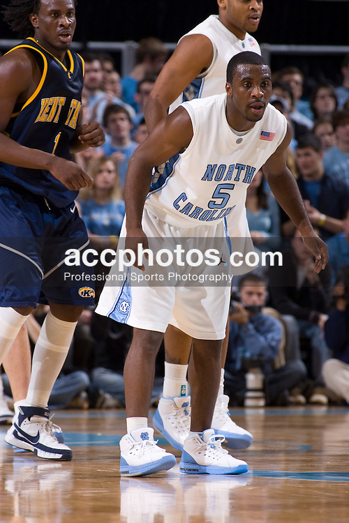 02 January 2008: North Carolina Tar Heels guard Ty Lawson (5) during a 90-61 win over the Kent State Golden Flashes at the Dean Smith Center in Chapel Hill, NC.