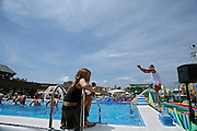 Italy, Florence, Fortezza da Basso, Fitfestival,  a tv reporter during a aquagym lesson