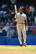 CLEVELAND - 1989:  Rickey Henderson of the New York Yankees looks on during an MLB game versus the Cleveland Indians at Municipal Stadium in Cleveland, Ohio during the 1989 season. (Photo by Ron Vesely).  Subject:   Rickey Henderson