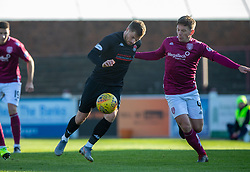 Clyde's David Goodwillie and Arbroath's Ricky Little. Arbroath 0 v 2 Clyde, Tunnocks Caramel Wafer Challenge Cup 4th Round, played 12/10/2019 at Arbroath's home ground, Gayfield Park.