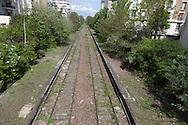 France. Paris 12th district, the petite ceinture , section Claude Decaen, the former train line / la petite ceinture, l'ancienne voie de chemin de fer qui faisait le tour de Paris. dans le 12 em arrondissement