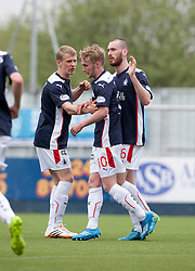 Falkirk's Craig Sibbald cele scoring their second goal.<br /> Falkirk 3 v 1 Alloa Athletic, Scottish Championship game played today at The Falkirk Stadium.<br /> © Michael Schofield.