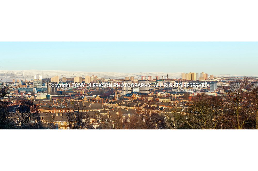 Panoramic view of Glasgow from Queen's Park, towards the east and north. Now demolished tower blocks include Red Road and Gorbals flats.