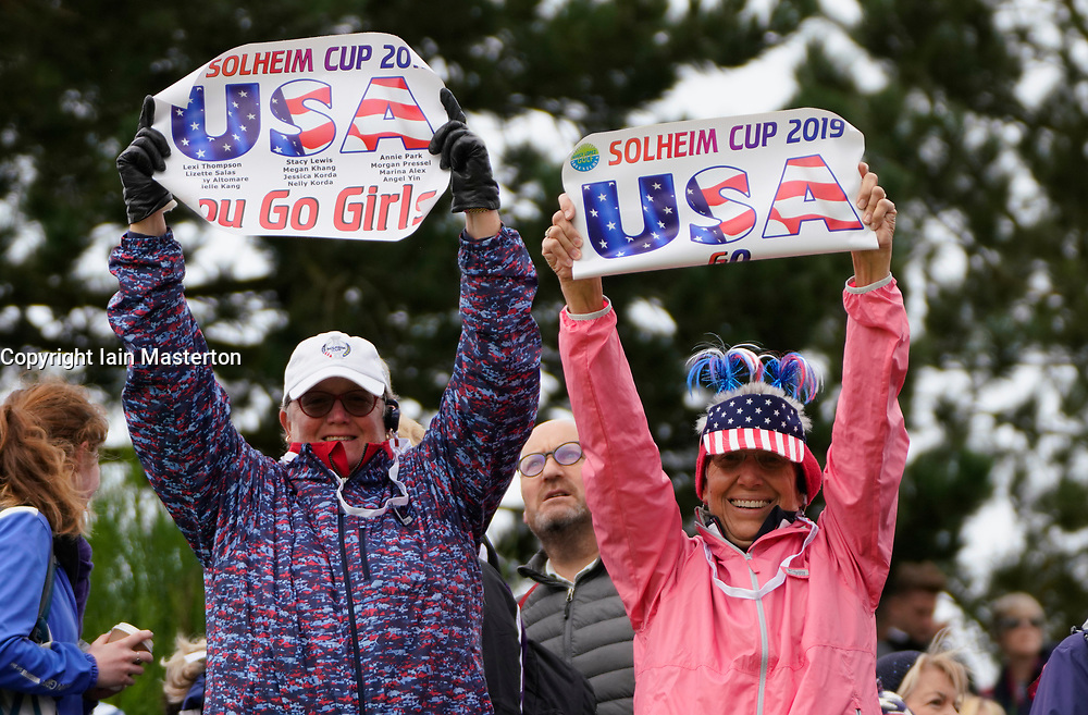 Auchterarder, Scotland, UK. 14 September 2019. Saturday morning Foresomes matches  at 2019 Solheim Cup on Centenary Course at Gleneagles. Pictured; Team USA fans with signs beside the 9th fairway.  Iain Masterton/Alamy Live News