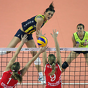 Fenerbahce Acibadem's Katarzyna Ewa SKOWRONSKA (L) during their Women's Volleyball CEV Champions League semi final match at Burhan Felek Arena in Istanbul, Turkey on 20 March 2011. Photo by TURKPIX