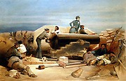 Crimean (Russo-Turkish) War 1853-1856: 'A Quiet Day in the Diamond Battery - portrait of a Lancaster 68-pounder'. From William Simpson 'Illustrations of the War in the East' London 1855-1856.