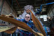 Fabrizio Galli, descendant of craftsmen, working in his hangar inside the Citadel of the Carnival