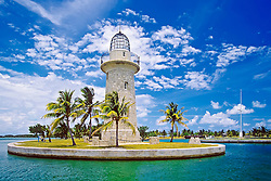 Boca Chita Lighthouse, a 65-foot ornamental lighthouse built by Mark Honeywell, one of the island's former owners, in the 1930s, Boca Chita Key, Biscayne National Park, Miami, Biscayne Bay, Florida, USA, Caribbean Sea, Atlantic Ocean