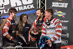 Roland Sands (#10) after winning the AMA Super Hooligan race at Daytona Speedway's Flat Track during Daytona Bike Week's 75th Anniversary event. Ormond Beach, FL, USA. Thursday March 10, 2016.  Photography ©2016 Michael Lichter.