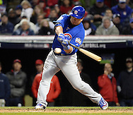 CLEVELAND, OH - OCTOBER 26: Kyle Schwarber #12 of the Chicago Cubs hits an RBI single in the fifth inning during Game 2 of the 2016 World Series against the Cleveland Indians at Progressive Field on Wednesday, October 26, 2016 in Cleveland, Ohio. (Photo by Ron Vesely/MLB Photos via Getty Images)