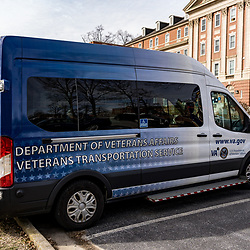 Coatesville, PA / USA - February 24, 2020: The transport van parked at the US Department of Veterans Affairs Medical Center in Coatesville PA.