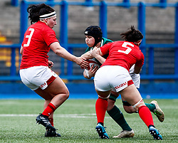 Ciara Griffin of Ireland under pressure from Mel Clay of Wales<br /> <br /> Photographer Simon King/Replay Images<br /> <br /> Six Nations Round 5 - Wales Women v Ireland Women- Sunday 17th March 2019 - Cardiff Arms Park - Cardiff<br /> <br /> World Copyright © Replay Images . All rights reserved. info@replayimages.co.uk - http://replayimages.co.uk