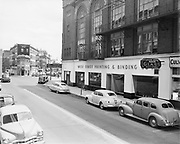 Y-490726A. West Coast Printing building. Majestic Hotel. West Burnside& Stark looking east. July 26, 1949