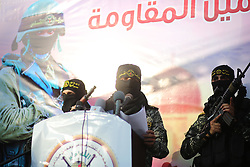 October 4, 2018 - Gaza City, The Gaza Strip, Palestine - Palestinian masked men, members of the Al-Quds Brigades the military wing of the Islamic Jihad faction, during a military march in Gaza city. (Credit Image: © Hassan Jedi/Quds Net News via ZUMA Wire)