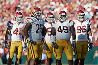 1 January 2007: USC defense #75 Fili Moala, #49 Sedrick Ellis, #96 Lawrence Jackson and other starters at the 93rd Rose Bowl Game at the Rose Bowl Stadium for the Pac-10 USC Trojans vs the Big-10 Michigan Wolverines NCAA college football game in Southern California.  Trojans defeated the Wolverines 32-18 in regulation.<br />
