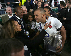 11 March 2017 : 6 Nations Rugby : England v Scotland :<br /> Jonathan Joseph with his family and the Calcutta Cup.<br /> Photo: Mark Leech