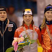 NLD/Heerenveen/20060121 - ISU WK Sprint 2006, Jenny Wolf, Manli Wang en Svetlana Zhurovav, Zjoerova, wereldkampioene, rusland, russia