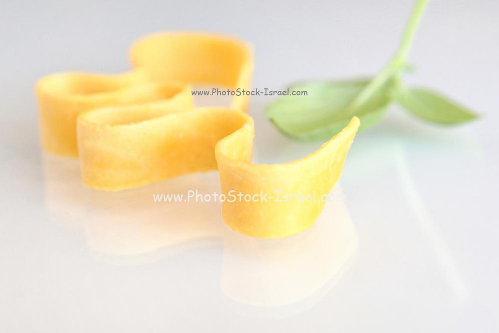 Egg Linguine pasta on white background