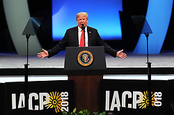 October 8, 2018 - Orlando, FL, United States - U.S. President Donald Trump addresses attendees at the International Association of Chiefs of Police Annual Convention on October 8, 2018 at the Orange County Convention Center in Orlando, Florida. (Credit Image: © Paul Hennessy/NurPhoto/ZUMA Press)