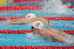 BUDAPEST, Oct. 5, 2018  Katinka Hosszu (Front) of Hungary competes in the Women's 200m Butterfly final of the FINA Short Course Swimming World Cup in Budapest, Hungary on Oct. 4, 2018. Katinka Hosszu won the gold with 2 minutes and 3.14 seconds. (Credit Image: © Attila Volgyi/Xinhua via ZUMA Wire)