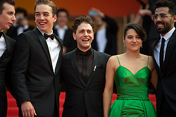 Antoine Pilon, Nancy Grant, Gabriel D'Almeida Freitas, Catherine Brunet, Xavier Dolan, Pier-Luc Funk, Samuel Gauthier and Adib Alkhalidey leaving the red carpet of 'Matthias Et Maxime (Matthias and Maxime)' screening held at the Palais Des Festivals in Cannes, France on May 22, 2019 as part of the 72th Cannes Film Festival. Photo by Nicolas Genin/ABACAPRESS.COM