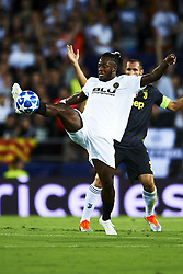 September 19, 2018 - Valencia, Spain - Leonardo Bonucci, Michy Batshuayi (R) battle for the ball during the Group H match of the UEFA Champions League between Valencia CF and Juventus at Mestalla Stadium on September 19, 2018 in Valencia, Spain. (Credit Image: © Jose Breton/NurPhoto/ZUMA Press)