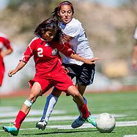092813       Cable Hoover<br /> <br /> Gallup Bengal Shyla Jones (22) collides with Valencia Jaguar Bryana Rubio (2) Saturday at Public School Stadium.