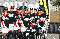 1996:  Team Hyper group photo during NHL Breakout grass roots program.  Hockey at the beach in Santa Monica, CA.  Transparency slide scan.  Chris Nelson, Stephan Desjardins, Pat Brission, Eric Rice, Eric LeMarque, Jon Gustafson, Ben Robert, Craig Forrest.
